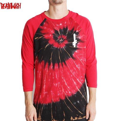 【デスウィッシュ DEATHWISH スケボーTシャツ】GANG LOGO 3/4 RAGLAN TIE DIY TEE【レッド】NO25