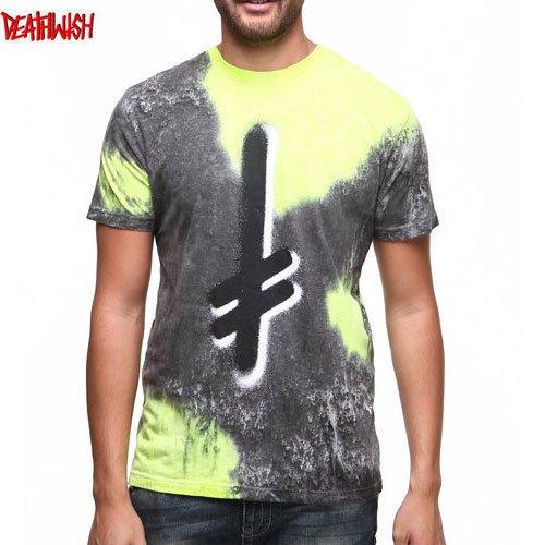 【デスウィッシュ DEATHWISH スケボー Tシャツ】GANG LOGO LAVA TEE【ライム x ブラック】NO27