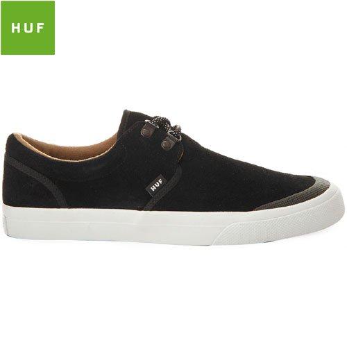 【HUF ハフ スケートボード シューズ スニーカー】GENUINE スウェード JET BLACK/WHITE【ブラック】N18