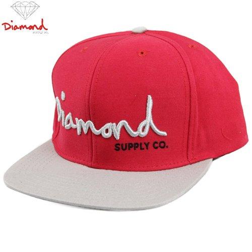 【DIAMOND SUPPLY ダイアモンドサプライ キャップ】OG SCRIPT SNAPBACK HAT【レッド x シルバー】NO69