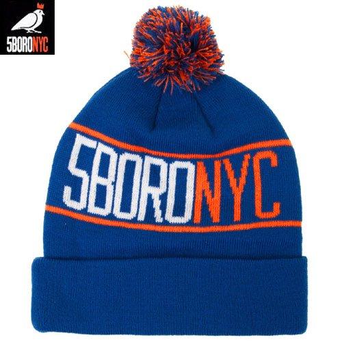 【ファイブボロ 5BORO スケボー ニットキャップ】NYC POM POM BEANIE【ブルー x オレンジ】NO1