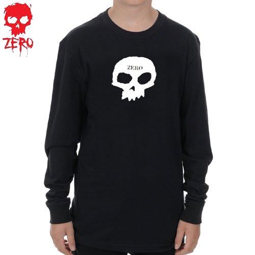 【ZERO ゼロ キッズ ロングシャツ】SKULL YOUTH LONG SLEEVE TEE【ユースサイズ】【ブラック】NO2