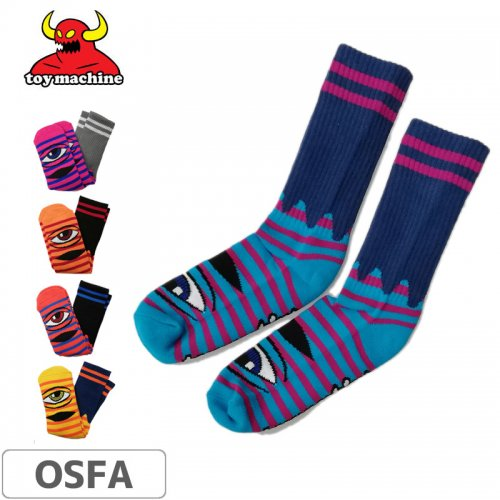 【TOY MACHINE トイマシーン ソックス】SECT EYE STRIPE CREW SOCKS【5カラー】NO34