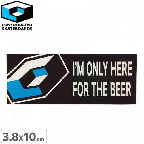 【CONSOLIDATED コンソリデーテッド スケボー ステッカー】FOR THE BEER【3.8cm x 10cm】NO18