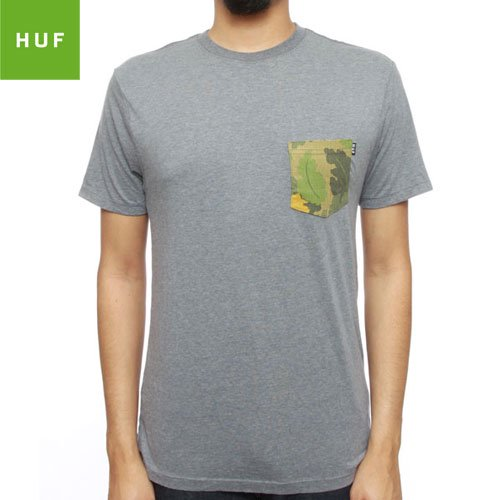 SALE!【HUF ハフ スケボー Tシャツ】HUF JAPANESE CAMO POCKET TEE【グレー ヘザー】NO22