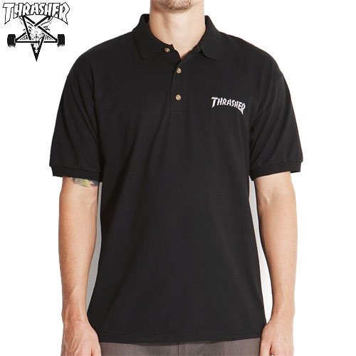 【スラッシャー THRASHER ポロシャツ】EMBROIDERED THRASHER LOGO POLO SHIRT【ブラック】NO2