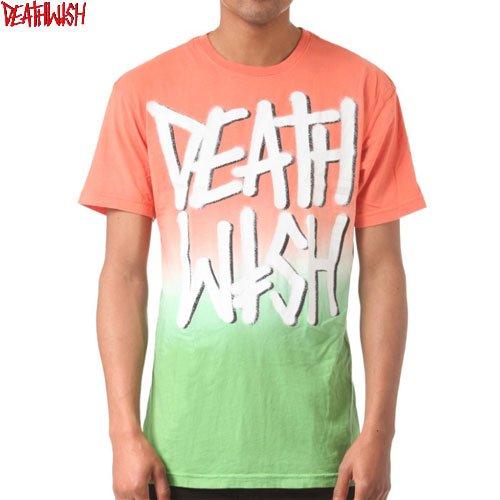 【デスウィッシュ DEATHWISH スケボーTシャツ】DEATH STACK TEE【オレンジ x グリーン】NO36