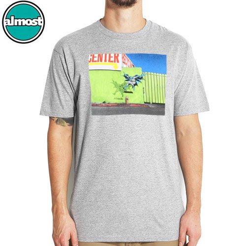 【ALMOST オルモスト スケートボード Tシャツ】BAT-FLIP TEE【グレー】【バットマン】NO36