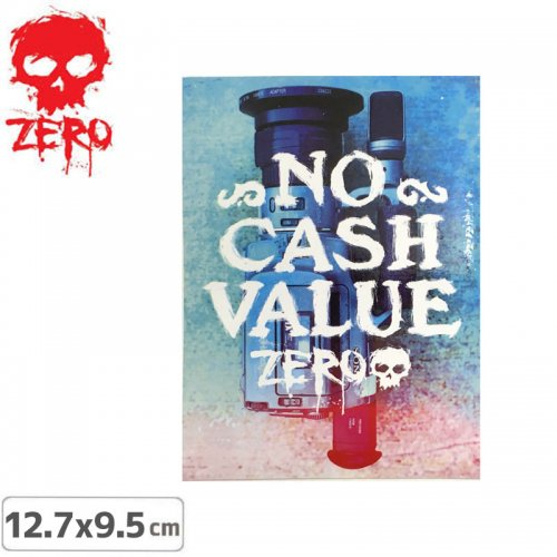【ゼロ ZERO スケボー ステッカー】ZERO NO CASH VALUE STICKER【12.7cm x 9.5cm】NO75