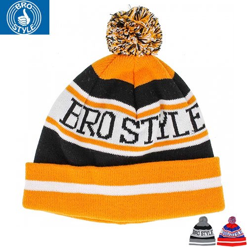 【BRO STYLE ブロスタイル ニットキャップ】HOME TEAM POM BEANIE【3COLOR】NO3