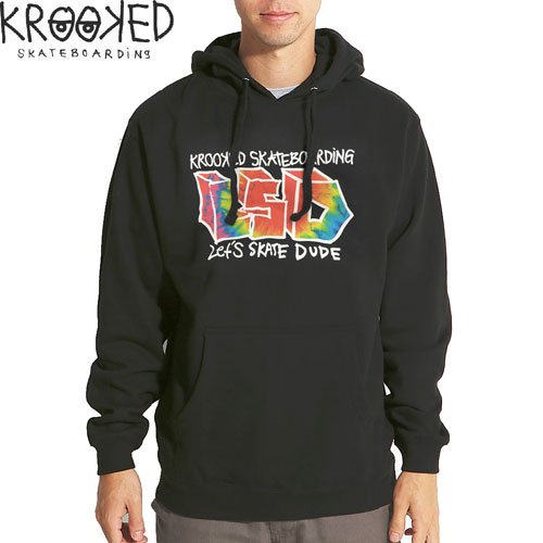 【KROOKED クルックド スケボー パーカー】LET'S SKATE DUDE PULLOVER HOODIE【ブラック】NO8