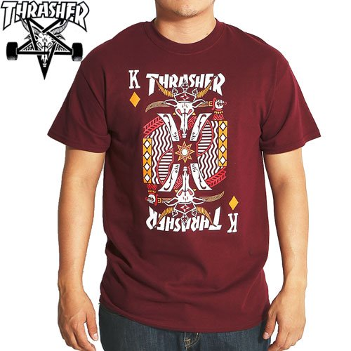 【スラッシャー THRASHER スケボー Tシャツ】USモデル KING OF DIAMONDS TEE【バーガンディ】NO87
