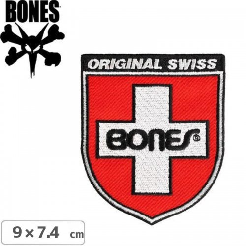 【ボーンズ BONES スケボー ワッペン】SWISS SHIELD PATCH【9cm x 7.4cm】NO2