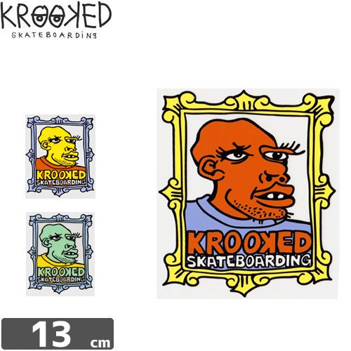 【クルックド KROOKED スケボー ステッカー】FRAME FACE STICKER【3カラー】NO27