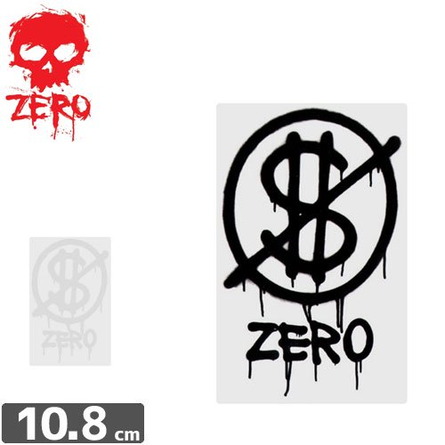 【ゼロ ZERO スケボー ステッカー】NO CASH VALUE STICKER【10.8cm x 7cm】NO78