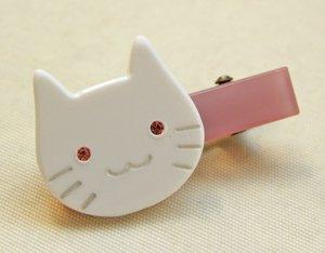 ミニヘアクリップ【白猫】