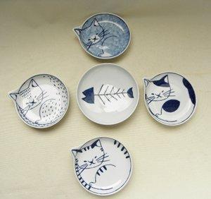 ねこの形平皿【猫とお魚5枚セット】