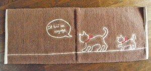 おやこ猫のロングキッチンマット【ブラウン】