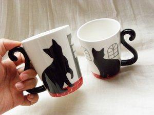 しっぽにゃ2匹のマグカップセット【黒猫】お家