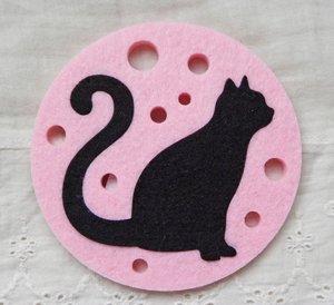 フェルトコースター【猫と泡/ピンク】