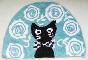 半円コットンマット【黒猫と薔薇】ブルー