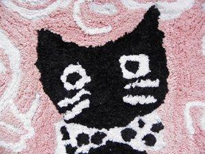半円コットンマット【黒猫と薔薇】ピンク