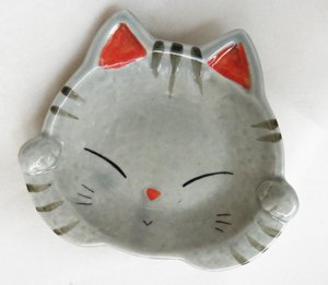 両手招き猫の銘々皿【サバトラ猫】大サイズ
