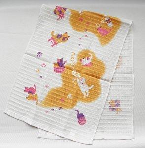 コラーゲンボディタオル【お風呂の猫たち】オレンジ系