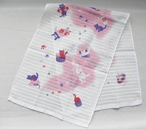 コラーゲンボディタオル【お風呂の猫たち】ピンク系