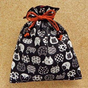 平巾着【にゃんこ紋】黒
