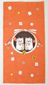 ミニ絵てぬぐい【しめ縄飾りと招き猫2匹】