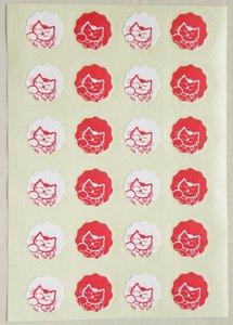 猫シール【紅白】
