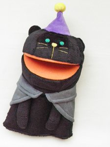 ハロウィン口パクパペット【黒猫】
