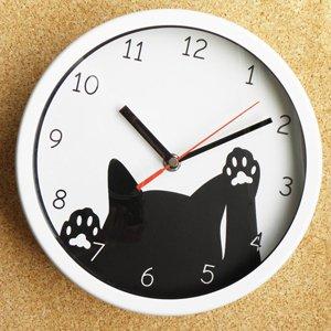 カチカチ秒針音の鳴らない!掛け時計【スクラッチ黒猫】ホワイト