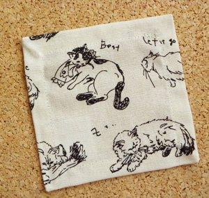 コースター【気ままな猫たち】生成り