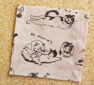 コースター【気ままな猫たち】薄ピンク