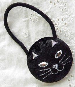 ヘアゴム【まんまんる猫】黒