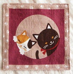 2枚袷の猫コースター【くぅとみぃ】あずき色