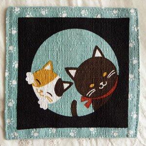 2枚袷の猫コースター【くぅとみぃ】青緑色
