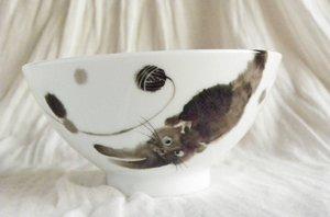 お茶碗【ふわふわ黒猫】