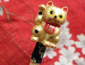 招き猫耳かき【金色】