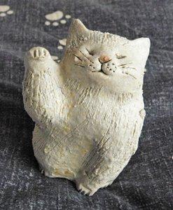 信楽焼きの猫【招く猫】白