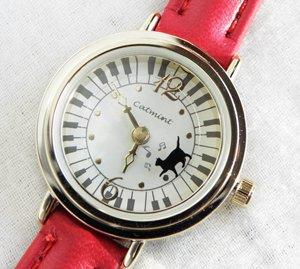 腕時計【奏で歩く猫】赤