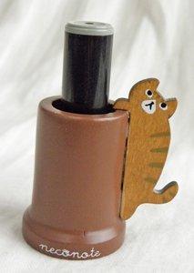 ぶらさがり猫の木製印鑑スタンド【しましま猫】