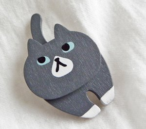 ねこダブルマグネット【グレー猫】