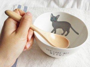 Meow スプーン付きボウル【グレイ猫のグリ】