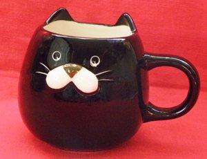 ぽってり猫マグ【黒猫】