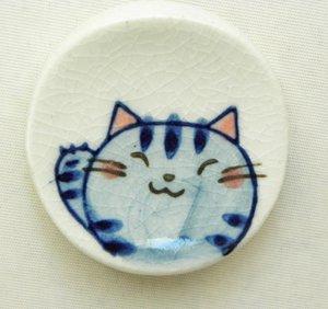 丸型の箸置き【招き島猫/青】