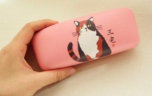 眼鏡ケース【三毛猫のみやけさん】ピンク