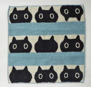 ウォッシュタオル【黒猫MEMEのボーダー】ブルー